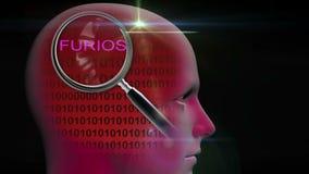 一个人的档案有关闭的在词furios的放大镜 库存例证