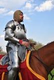 一个人的画象历史服装的,他骑一匹棕色马 免版税库存图片