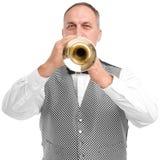 一个人的画象有一个喇叭的在白色背景隔绝的他的手上 图库摄影