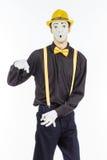 一个人的画象,演员,手势,显示他空的口袋 免版税库存照片
