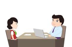 一个人的简单的动画片被采访 库存例证