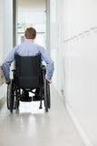 一个人的背面图轮椅的 库存图片