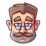 一个人的面孔戴胡子和眼镜的 向量例证