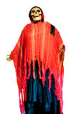 一个人的骨骼一件红色礼服的为万圣夜 图库摄影