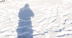一个人的阴影雪的 免版税库存照片