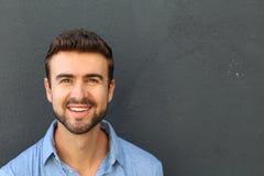 一个人的画象有完善的牙的 免版税库存照片