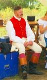 一个人的画象红色夹克的 免版税图库摄影