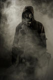 一个人的画象防毒面具的 免版税库存照片