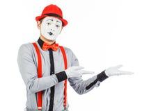 一个人的画象,艺术家,小丑, MIME 展示某事,隔绝 库存照片