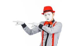 一个人的画象,艺术家,小丑, MIME 展示某事,隔绝 图库摄影