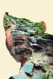 一个人的画象以一座石山的形式 免版税库存照片