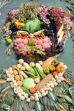 绘一个人的画象从果子和vege收获的  库存照片