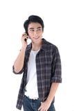 一个人联系在电话 免版税库存图片