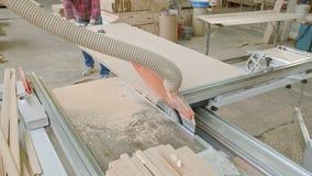 一个人锯在机器的木门空白,村庄内门的生产 股票视频