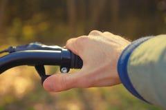 一个人露天骑在森林特写镜头的一辆自行车 免版税库存图片