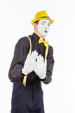 一个人,演员,手势的画象,一个人做a 免版税库存照片