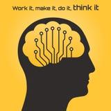 一个人头和电路板的剪影有脑子的 图库摄影