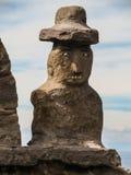 一个人` s胸象的传统雕塑在Taquile海岛上的,在的喀喀湖 图库摄影