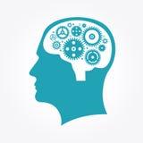 一个人` s头的剪影有齿轮的以脑子的形式 皇族释放例证