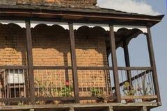 一个传统房子阳台在本迪布尔尼泊尔 库存图片