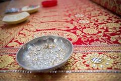 一个传统Jamdani莎丽服特写镜头 免版税库存图片