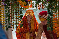 一个传统印地安婚礼的新娘 图库摄影