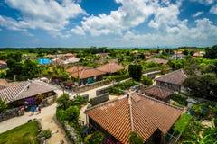 一个传统村庄在竹富岛一个小海岛  免版税库存图片
