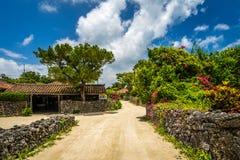 一个传统村庄在竹富岛一个小海岛  库存图片