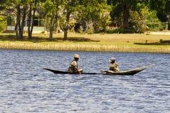 一个传统渔船的-马达加斯加马达加斯加人的渔夫 库存图片