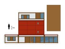 一个低小屋的纸模型 库存图片