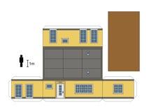 一个低小屋的纸模型 免版税图库摄影