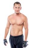一个体育人的垂直的画象有赤裸躯干的 免版税库存图片