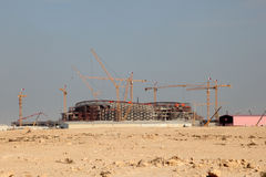 一个体育场的建筑在卡塔尔 库存图片