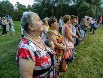 一个俄国军事假日-天的庆祝2016年8月2日的空降兵在村庄Kremenskaya卡卢加州regi 图库摄影