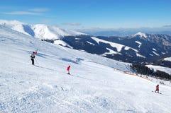 一个倾斜的滑雪者在Jasna低Tatras 图库摄影