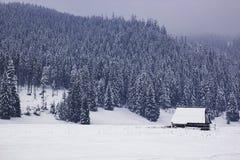 一个偏僻的木房子在一个多雪的谷,在Th的一座山站立 免版税图库摄影