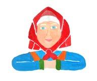 一个健康资深老妇人祖母的被绘的画象一块红色方巾的和有微笑的一件蓝色礼服的在白色 向量例证