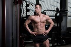 一个健身肌肉人的画象 库存图片