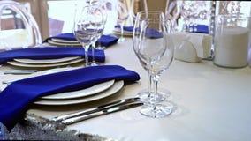 一个党的表或一个结婚宴会、装饰概念婚礼的或社交活动 影视素材