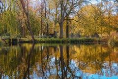 一个公园的迷人秀丽在秋天 免版税图库摄影