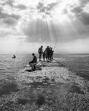 一个具体码头在傲德萨 免版税库存照片