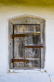 一个典型的乌克兰古色古香的房子的视窗的详细资料 免版税库存图片