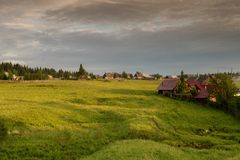一个典型的俄国村庄 免版税库存照片