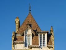 一个典型的诺曼底房子的铺磁砖的屋顶,诺曼底,法国 库存图片