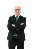 一个典雅的成熟的商业人的画象白色背景的 免版税库存图片