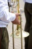 一个军乐队的音乐家 免版税库存照片