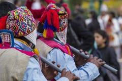一个军乐队o的库斯科-秘鲁- 2016 6月06日,未知的音乐家 免版税库存图片