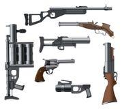 一个军用武器为计算机游戏设置了 免版税库存图片