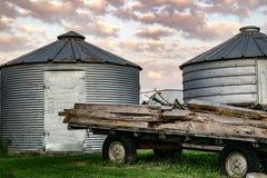 一个农厂场面在衣阿华 免版税库存图片