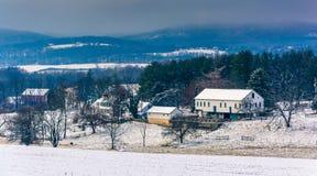 一个农场和Piegon小山的冬天视图,在春天树丛附近, P 图库摄影